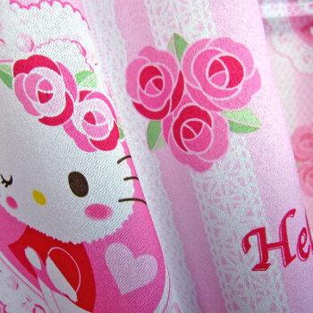 サンリオハローキティ(ふわもこキティ)3級遮光カーテンとミラーレースカーテン4枚セット100×110cm[幅100cm丈110cm三級遮光HellokittySanrioサンリオキャラクターかわいいキティーちゃん4枚組4枚入りバラローズハートばら薔薇ピンク子供腰窓小窓]