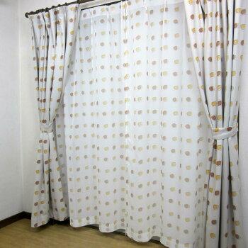 北欧風かわいいリーフボイルレースカーテン100×108cm(2枚入り)