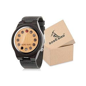 ボボバード BOBO BIRD 竹 腕時計 木製 時計 ウッドウォッチ メンズ 男性用 BOBO Bird Men's Bamboo Wooden Watch with Black Cowhide Leather Strap 12 Holes Timer Design Sports Casual Watches