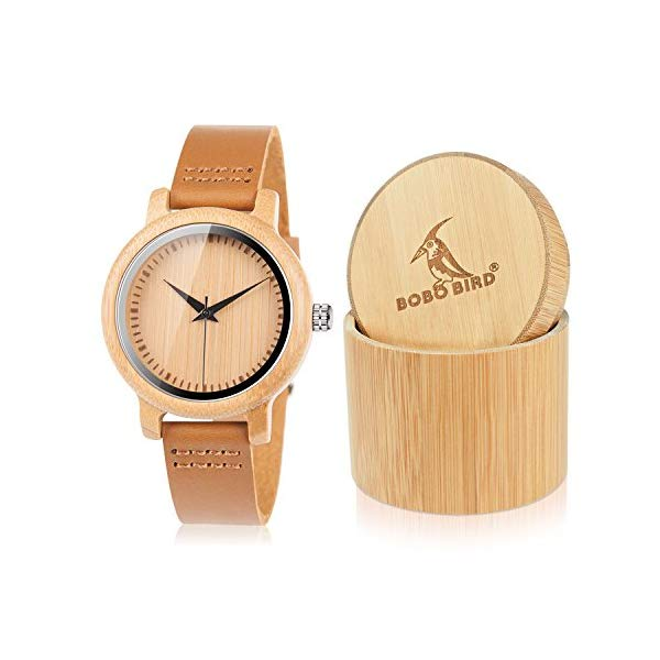 腕時計, レディース腕時計  BOBO BIRD BOBO BIRD Womens Bamboo Wooden Watch with Brown Cowhide Leather Strap Analog Quartz Casual Watches