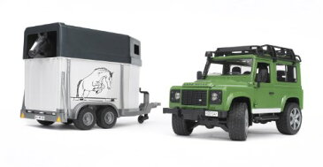 Bruder Toys ブルーダー ランドローバー ディフェンダーステーションワゴン Land Rover Defender Station Wagon With Horse Trailer And 1 Horse