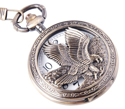 Eagle Design イーグルデザイン 懐中時計 Pocket Watch With Chain Quartz Movement Arabic Numerals Half Hunter Vintage Design PW-65