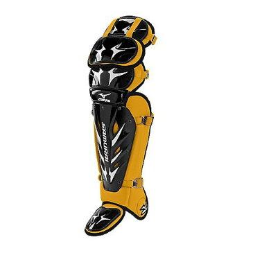 USAミズノ 最新仕様 サムライG3 硬式用 キャッチャーレガーズ ブラック/イエロー Mizuno Samurai G3 15.5-Inch Shin Guards (Black/Yellow)
