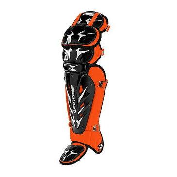 USAミズノ 最新仕様 サムライG3 硬式用 キャッチャーレガーズ ブラック/オレンジ Mizuno Samurai G3 15.5-Inch Shin Guards (Black/Orange)