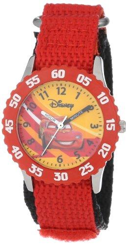 """ディズニー 腕時計 キッズ 時計 子供用 カーズ マックィーン Disney Kids' W000084 Cars """"Time Teacher"""" Stainless Steel and Nylon Watch"""