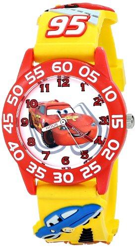 """ディズニー 腕時計 キッズ 時計 子供用 カーズ マックィーン Disney Kids' W001509 """"Time Teacher"""" 3D Watch with Yellow Plastic Band"""
