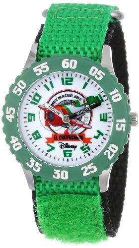 ディズニー 腕時計 キッズ 時計 子供用 プレーンズ エル・チュパカブラ Disney Kids' W000879 Planes Fire & Rescue El Chupacabra Stainless Steel Time Teacher Green Bezel Green Nylon Strap Watch