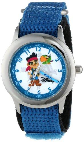 ディズニー 腕時計 キッズ 時計 子供用 ジェイクとネバーランドのかいぞくたち ジェイク Disney Kids' W000383 Jake Stainless Steel Time Teacher Blue Velcro Strap Watch