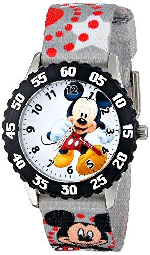 ディズニー 腕時計 キッズ 時計 子供用 ミッキー Disney Kids' W001224 Mickey Mouse Stainless Steel with Black Bezel watch, Printed Strap,W001224 Analog Display Analog Quartz Multi-Color Watch