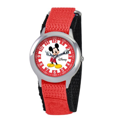 ディズニー 腕時計 キッズ 時計 子供用 ミッキー Disney Kids' W000241 Mickey Mouse Stainless Steel Time Teacher Watch with Moving Hands