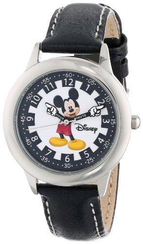 """ディズニー 腕時計 キッズ 時計 子供用 ミッキー Disney Kids' W000243 """"Mickey Mouse"""" Stainless Steel Time Teacher Watch with Leather Band"""