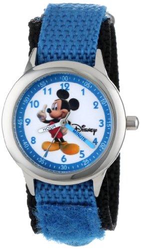 """ディズニー 腕時計 キッズ 時計 子供用 ミッキー Disney Kids' W000011 """"Mickey Mouse"""" Stainless Steel Time Teacher Watch"""