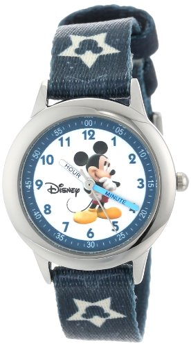 ディズニー 腕時計 キッズ 時計 子供用 ミッキー Disney Kids' W000015 Mickey Mouse Stainless Steel Time Teacher Watch