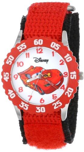 ディズニー 腕時計 キッズ 時計 子供用 カーズ マックィーン Disney Kids' W001003 Cars Stainless Steel Time Teachr Red Bezel Red Nylon Strap Watch