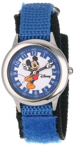 ディズニー 腕時計 キッズ 時計 子供用 ミッキー Disney Kids' W000246 Mickey Mouse Stainless Steel Time Teacher Watch with Moving Hands