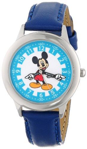 ディズニー 腕時計 キッズ 時計 子供用 ミッキー Disney Kids' W000242 Mickey Mouse Stainless Steel Time Teacher Watch with Moving Hands