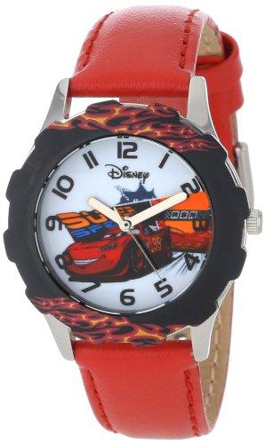 ディズニー 腕時計 キッズ 時計 子供用 カーズ マックィーン Disney Kids' W001010 Tween Cars Stainless Steel Printed Bezel Red Leather Strap Watch