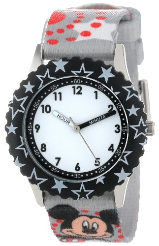 ディズニー 腕時計 キッズ 時計 子供用 ミッキー Disney Kids' W000287 Mickey Mouse Stainless Steel Time Teacher Black Bezel Printed Strap Watch