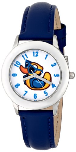 ディズニー 腕時計 キッズ 時計 子供用 アヒル Disney Kids' W000449 Tween Rubber Duck Stainless Steel Blue Leather Strap Watch