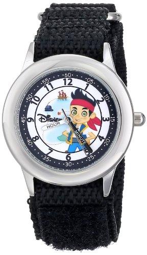 ディズニー 腕時計 キッズ 時計 子供用 ジェイクとネバーランドのかいぞくたち ジェイク Disney Kids' W000384 Jake Stainless Steel Time Teacher Black Velcro Strap Watch