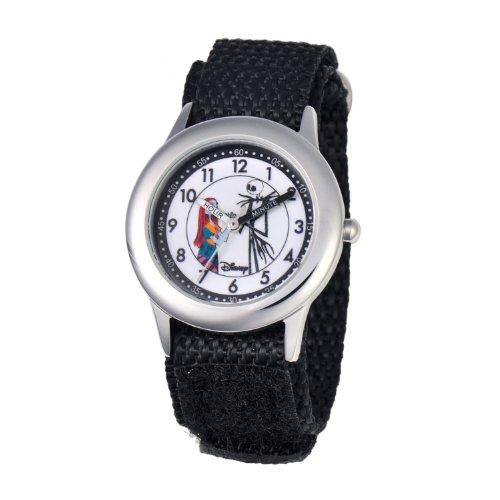 ディズニー 腕時計 キッズ 時計 子供用 ナイトメアー・ビフォア・クリスマス ジャック サリー Disney Kids' W000453 Jack and Sally Stainless Steel Time Teacher Black Velcro Strap Watch