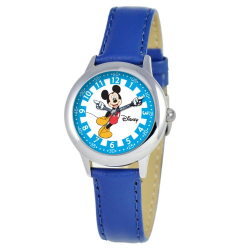 ディズニー 腕時計 キッズ 時計 子供用 ミッキー Disney Kids' W000248 Mickey Mouse Stainless Steel Time Teacher Watch with Moving Hands