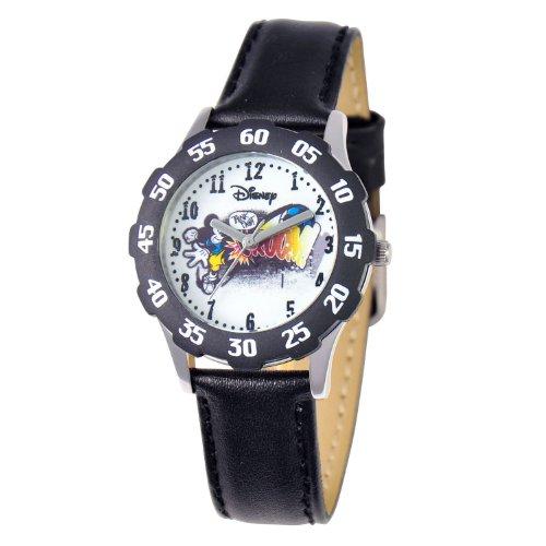 ディズニー 腕時計 キッズ 時計 子供用 ミッキー Disney Kids' W000267 Tweens Mickey Mouse Stainless Steel Black Bezel Black Leather Strap Watch