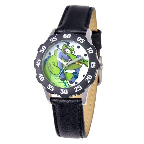 ディズニー 腕時計 キッズ 時計 子供用 スワンピーの地下探検 Disney Kids' W000446 Tween Cranky Stainless Steel Black Bezel Black Leather Strap Watch