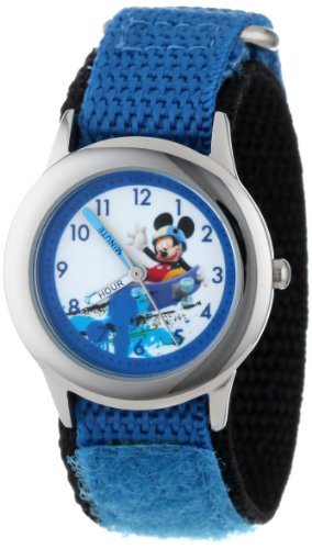 ディズニー 腕時計 キッズ 時計 子供用 ミッキー Disney Kids' W001019 Mickey Stainless Steel Time Teacher Blue Nylon Strap Watch