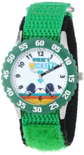 ディズニー 腕時計 キッズ 時計 子供用 ミッキー Disney Kids' W001017 Mickey Stainless Steel Time Teacher Green Bezel Green Nylon Strap Watch