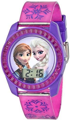 ディズニー 腕時計 キッズ 時計 子供用 アナと雪の女王 エルサ アナ Disney Kids' FZN3598 Frozen Anna and Elsa Digital Watch with Purple Snowflake Band