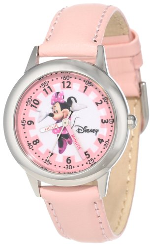 "ディズニー 腕時計 キッズ 時計 子供用 ミニー Disney Kids' W000038 ""Minnie Mouse Time Teacher"" Stainless Steel Watch with Pink Leather Band"
