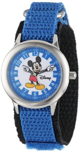 ディズニー 腕時計 キッズ 時計 子供用 ミッキー Disney Kids' W000240 Mickey Mouse Stainless Steel Time Teacher Watch with Moving Hands