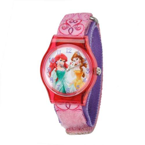 ディズニー プリンセス 腕時計 キッズ 時計 子供用 ディズニープリンセス アリエル ベル Disney Kids' W001272 Tween princess plastic watch printed pink nylon strap watch