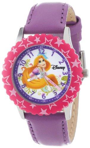"""ディズニー 腕時計 キッズ 時計 子供用 塔の上のラプンツェル ラプンツェル Disney Kids' W000045 """"Princess Time Teacher"""" Stainless Steel Watch with Purple Leather Band"""