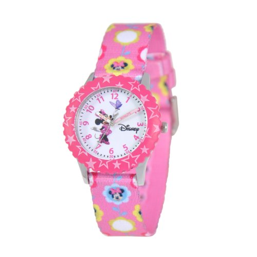 "ディズニー 腕時計 キッズ 時計 子供用 ミニー Disney Kids' W000031 ""Minnie Mouse Time Teacher"" Stainless Steel Watch with Printed Band"