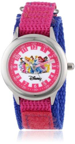 """ディズニー プリンセス 腕時計 キッズ 時計 子供用 ディズニープリンセス オーロラ姫 シンデレラ ベル アリエル 白雪姫 ジャスミン Disney Kids' W000056 """"Multi-Princess Time Teacher"""" Stainless Steel Watch with Nylon Band"""
