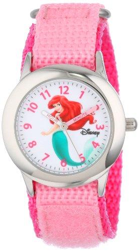 """ディズニー 腕時計 キッズ 時計 子供用 リトルマーメイド アリエル Disney Kids' W000958 """"Ariel"""" Stainless Steel Watch with Pink Nylon Band"""