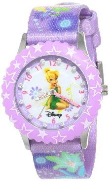 ディズニー 腕時計 キッズ 時計 子供用 ピーターパン ティンカーベル Disney Kids' W000277 Tinker Bell Glitz Stainless Steel Time Teacher Purple Bezel Printed Strap Watch