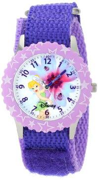 ディズニー 腕時計 キッズ 時計 子供用 ピーターパン ティンカーベル Disney Kids' W000924 Tinker Bell Stainless Steel Time Teacher Printed Bezel Purple Nylon Strap Watch