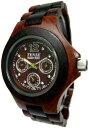 テンス 時計 メンズ 腕時計 木製 Tense Two Tone Sandalwood Triple Dial Mens Round All Wood Watch G4300SD DF