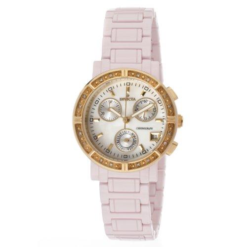 インヴィクタ インビクタ 腕時計 レディース 時計 Invicta Women's 10320 Ceramics Diamond Accented Chronograph White Mother-Of-Pearl Dial Pink Ceramic Watch