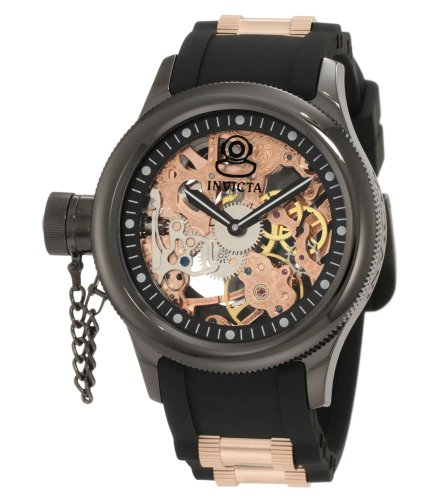 インヴィクタ インビクタ 腕時計 メンズ 時計 Invicta Men's 1847 Russian Diver Left Handed Mechanical Skeleton Dial Black Polyurethane Watch