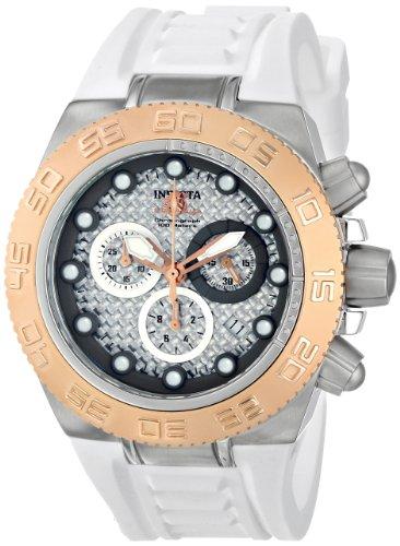 インヴィクタ インビクタ 腕時計 メンズ 時計 Invicta Men's 10862 Subaqua Sport Chronograph Silver Tone Carbon Fiber Dial White Silicone Watch