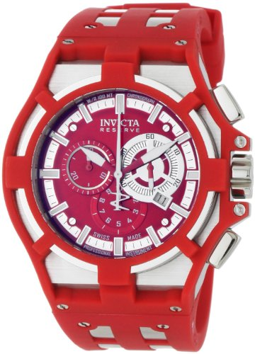 インヴィクタ インビクタ 腕時計 メンズ 時計 Invicta Men's 0634 Reserve Collection Akula Chronograph Red Dial Red Polyurethane Watch