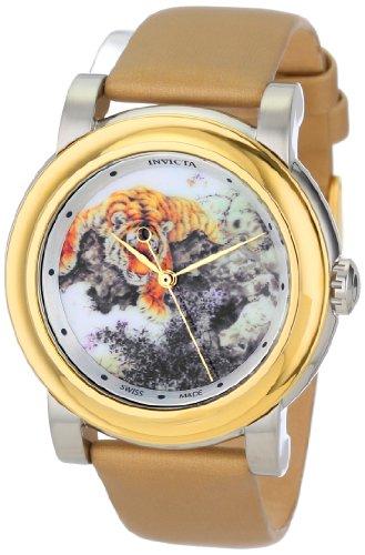 インヴィクタ インビクタ 腕時計 レディース 時計 Invicta Women's 12133 Angel Beige with Tiger Image Dial Tan Leather Watch