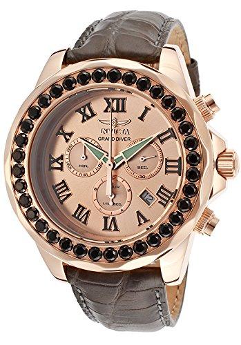 インビクタ 時計 インヴィクタ メンズ 腕時計 Invicta Grand Diver Chronograph Rose Dial Grey Leather Mens Watch 14924