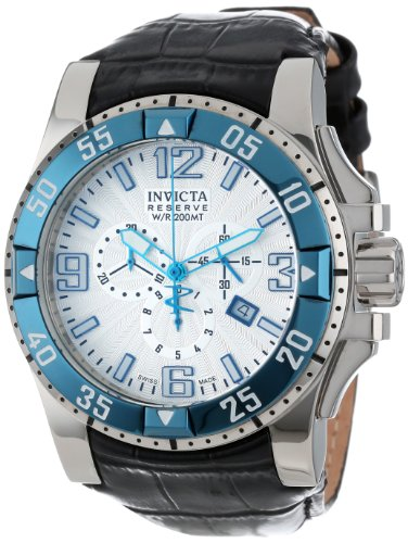 インビクタ 時計 インヴィクタ メンズ 腕時計 Invicta Men's 10909 Excursion Reserve Chronograph Silver Textured Dial Black Leather Watch