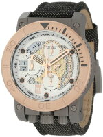JasonTaylorforInvictaCollection13050ChronographSilverToneandPerforatedDialBlackFabricWatch