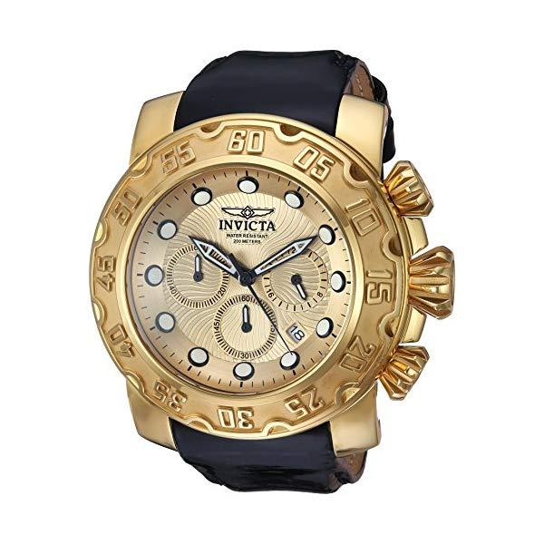 インビクタ 腕時計 INVICTA インヴィクタ 時計 ルーパーInvicta Men's 'Lupah' Quartz Gold-Tone and Leather Casual Watch, Color:Black (Model: 22492)
